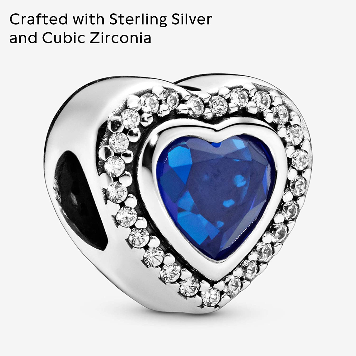 Pandora Jewelry Sparkling Blue Heart Crystal and Cubic Zirconia Charm in  Sterling Silver