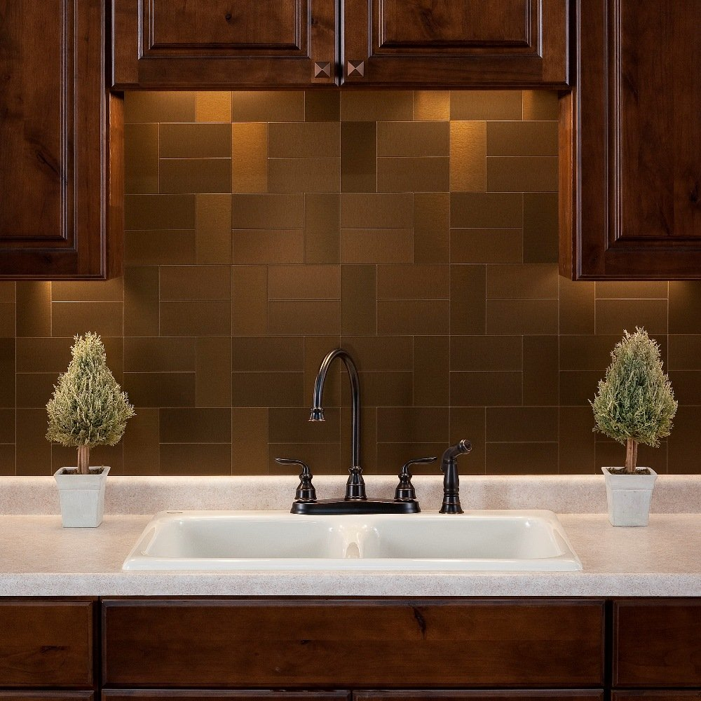 Amazon aspect peel and stick backsplash 3in x 6in brushed amazon aspect peel and stick backsplash 3in x 6in brushed bronze long grain metal tile for kitchen and bathrooms 8 pack home improvement dailygadgetfo Image collections