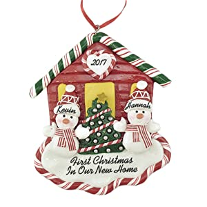 "Calliope Designs First Christmas New House 2018 for A Couple Personalized Ornament Handcrafted - 4.5"" Tall - Free Customization of Names, Year, Phrase - A Keepsake for New Home Owners"