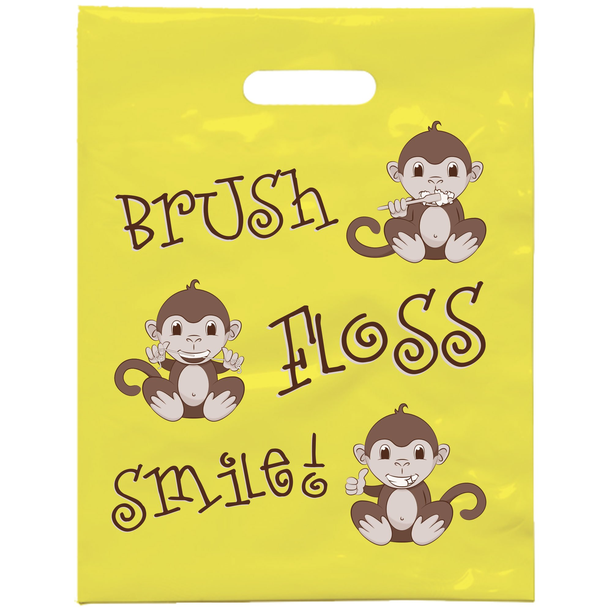 Practicon 1109658 Brush Floss Smile Monkey Bag, 7 3/4'' x 9'' (Pack of 100)