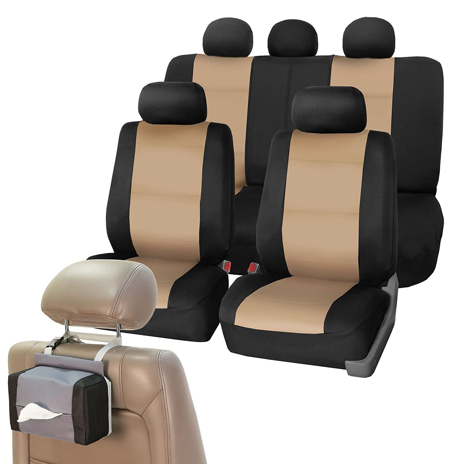 Amazon FH GROUP FB083115 Neoprene Waterproof Car Full Set Beige Black Seat Covers Airbag Ready And Split With FH1133 E Z Travel