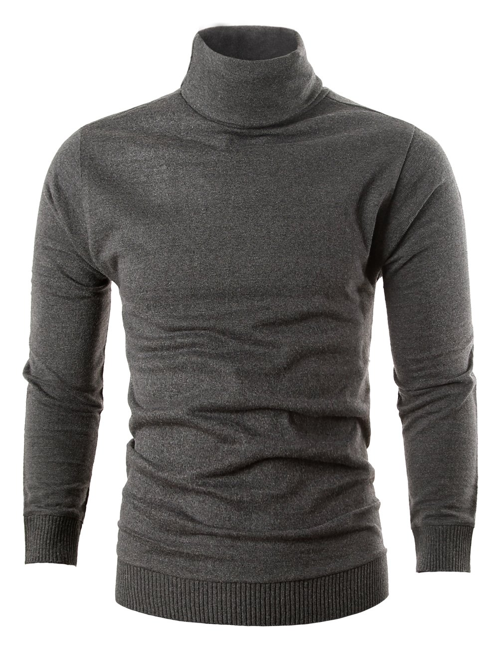 MIEDEON Mens Casual Basic Knitted Turtleneck Slim Fit Pullover Thermal Sweaters (Dark Grey, S)