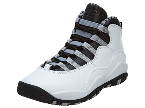 cheap for discount f7244 5dbff Image Unavailable. Image not available for. Color  NIKE Boys Air Jordan 10  Retro (GS) Steel White Black Steel Grey