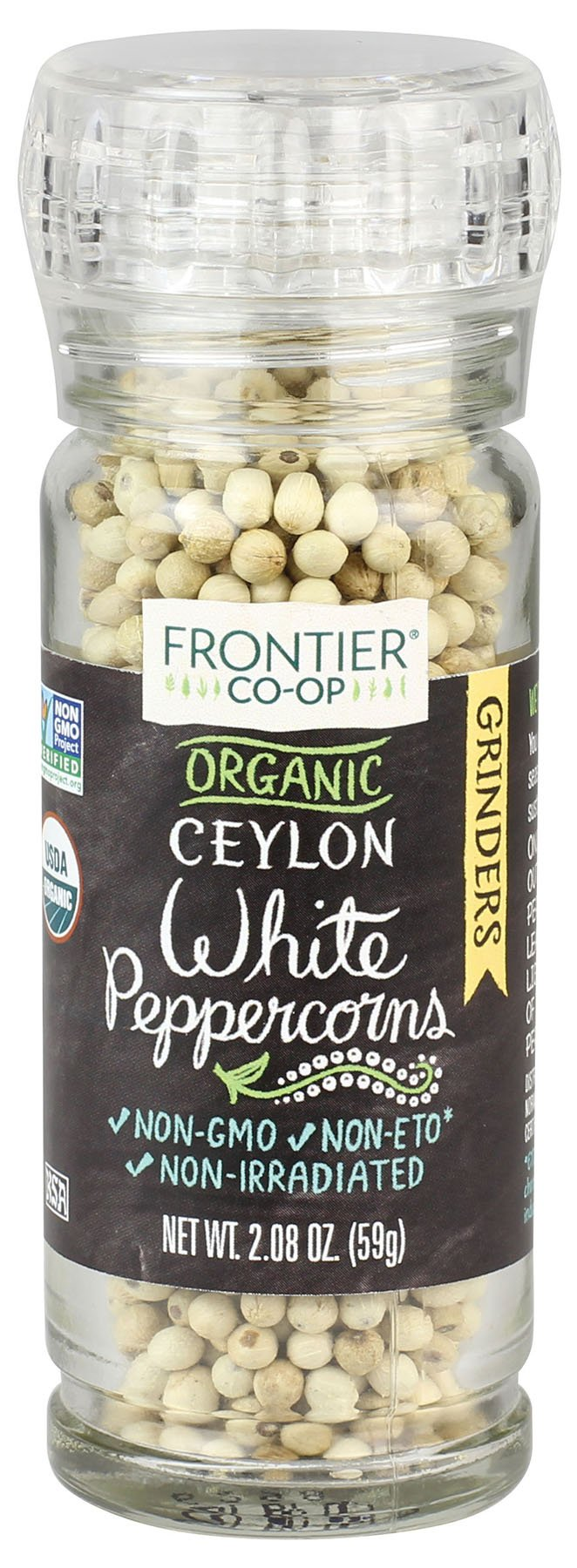 Frontier Natural Products Peppercorns, Og, White, 2.08-Ounce (Pack of 3)