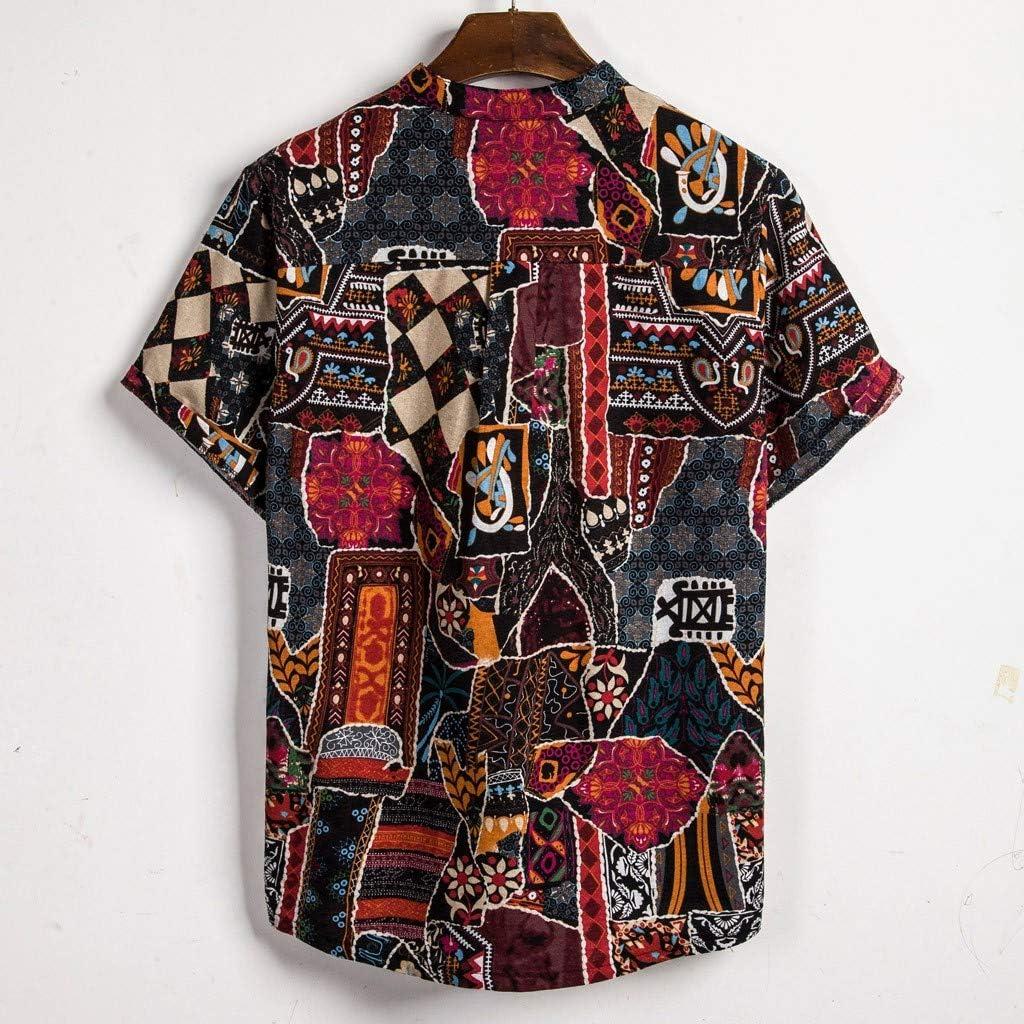 F/_Gotal Shirts for Mens Hawaiian Printed Loose Short Sleeve Casual Buttons T-Shirt Summer Aloha Beach Shirts for Holiday