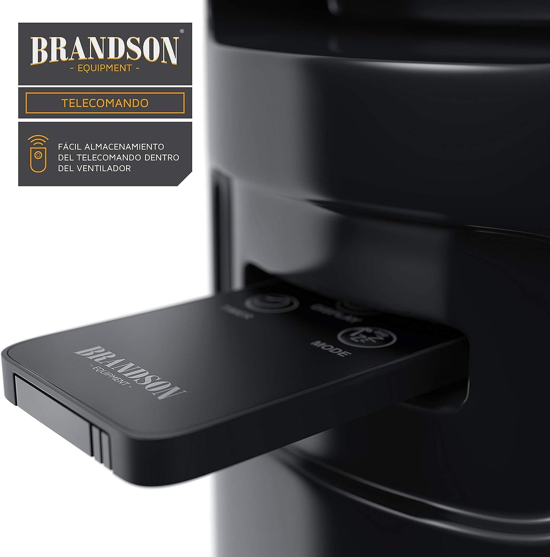 Brandson 3 Modos de Funcionamiento Oscilaci/ón Ajustable a 60/° 3 Niveles de Temperatura + Temporizador Ventilador de Torre con Mando a Distancia Low//Medium//High Nuevo 2019 60W