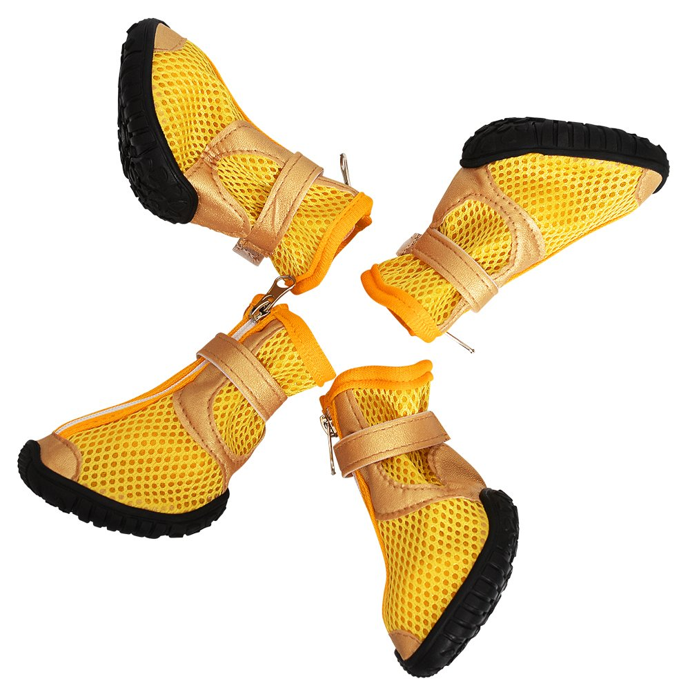 Dog Boots WaterProof Dog Shoes for Medium Large Dogs with Reflective Velcro Rugged Anti-Slip Sole Yellow Pack of 4 Pcs (S:Inside Sole (LxW) 2.67''x1.92'')