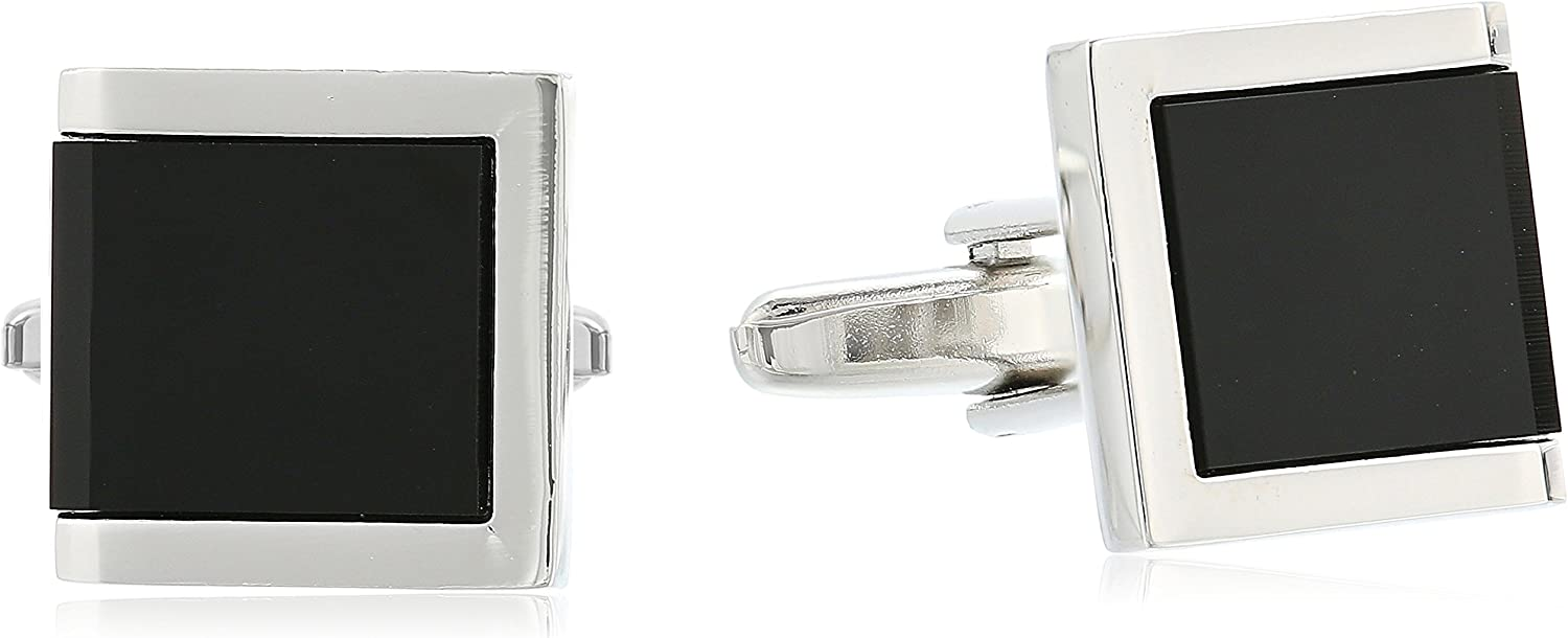 Stacy Adams Men's Square with Jet Acrylic Inlay Open End Cuff Link and Tie Bar Set