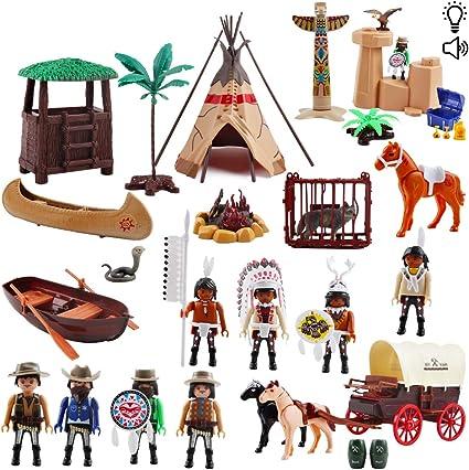 Imagen dedeAO Juego del Lejano Oeste Conjunto de Vaqueros y Nativos Americanos Figuras de Acción Cowboy Playset con Accesorios Incluidos Funciones de Luz y Sonidos