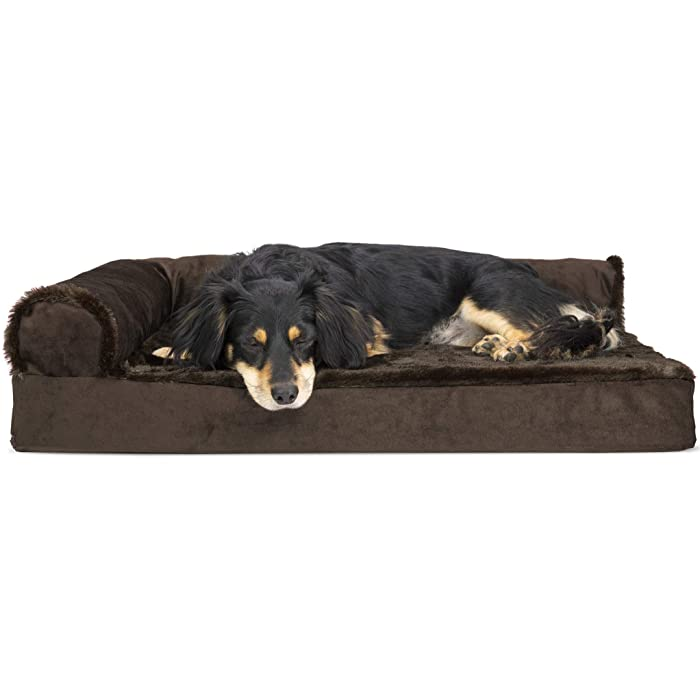 Furhaven Pet Dog Bed | Deluxe Orthopedic Goliath Quilted Faux Fur & Velvet L Shaped Chaise Lounge Living Room Corner Couch Pet Bed