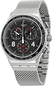 Swatch Men's Black Dial Leather Band Watch - YVS401G