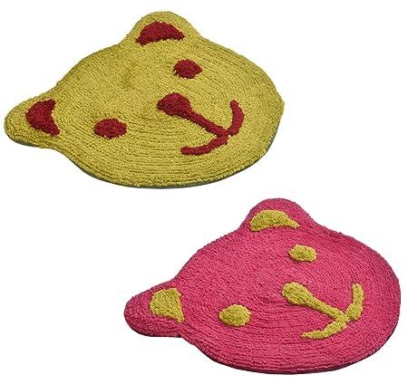 Yellow Weaves™ Microfiber Teddy Bear Door mat (Set of 2) - 17 x 19 inches, Color : Pink & Yellow