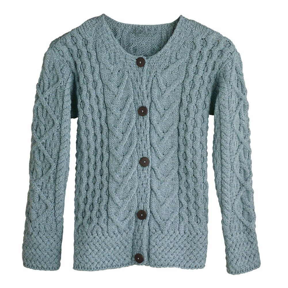 Women's Button Down Sweater - Aileen Aran Cardigan - Mist - XXL by Aran Woollen Mills