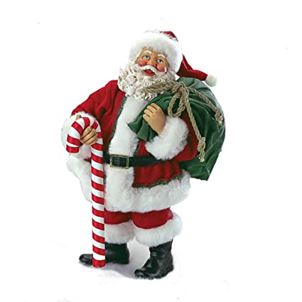 kurt adler 10 fabrich santa holding bag and candy cane christmas table top decoration