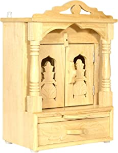 Wooden Temple/Mandir for Home/Temple for Home Wall/Home Temple/Mandir/Pooja Mandir/Pooja Temple/Cabinet Temple/Mandap/Temple for Home/Handicraft Sevan Wooden Temple AMBA AHTP009