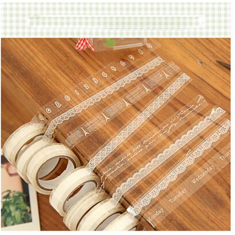 EQLEF® 10 Rollo Craft adhesiva en cinta blanca del cordón de la cinta de Deco de la cinta engomada transparente EQLEF®