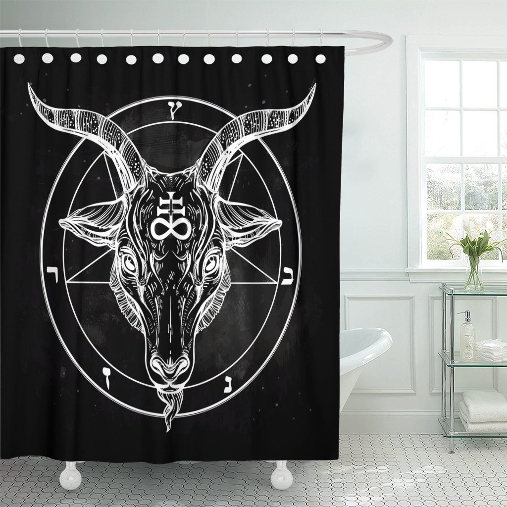 Emvency Shower Curtain Pentagram with Demon Baphomet Satanic Goat Head Binary Symbol Tattoo Retro Music Summer for Biker Black Waterproof Polyester Fabric 72 x 72 inches Set with Hooks