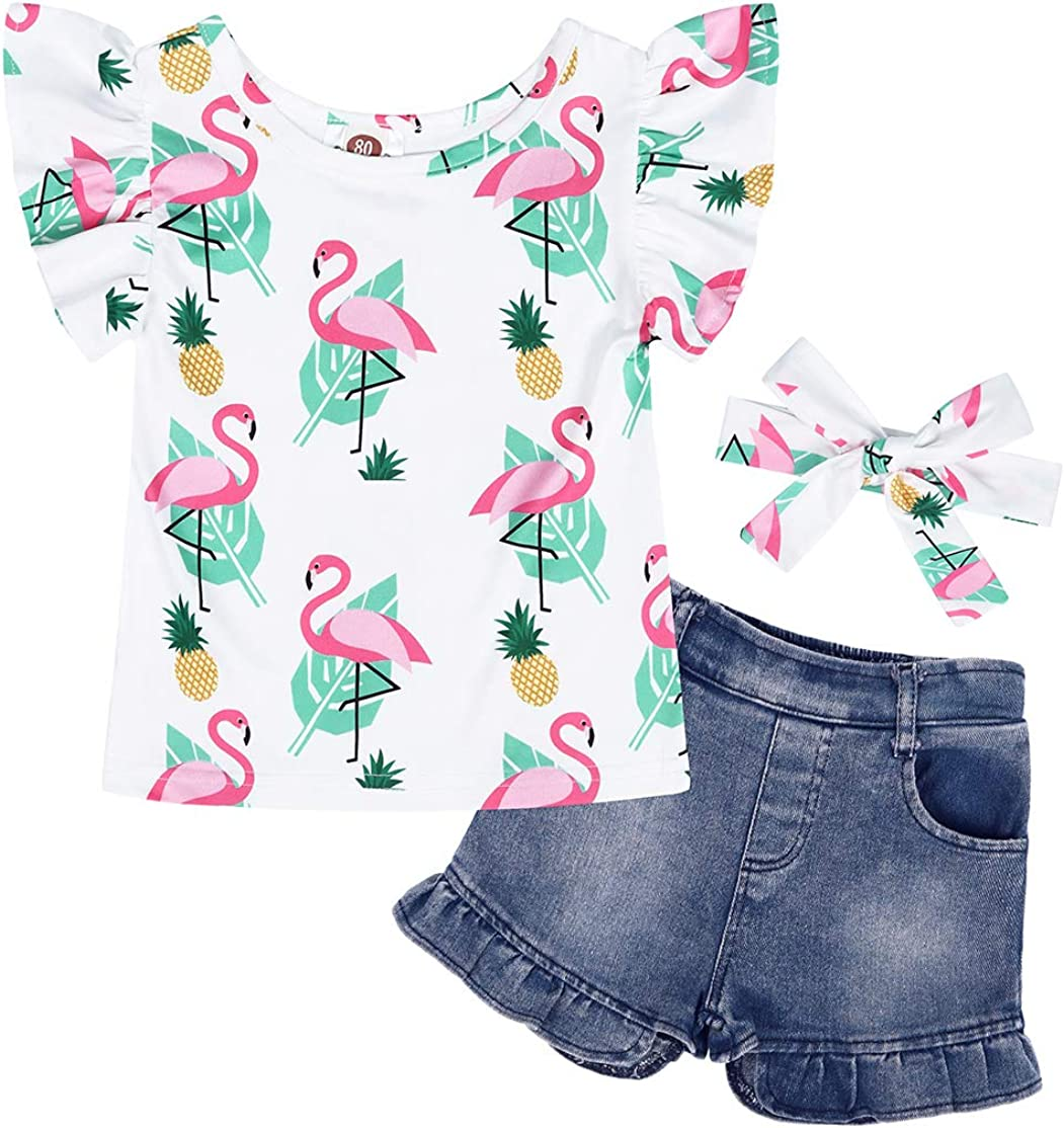 Cotrio Toddler Baby Girl Clothes Set Floral Tops Denim Shorts Headband Outfits