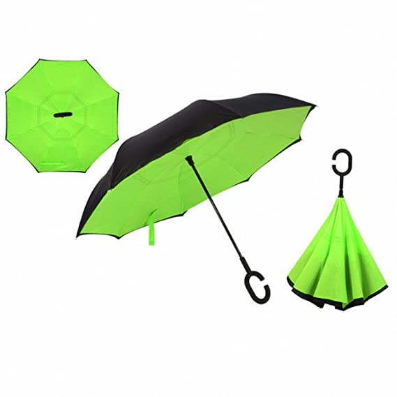 Amazon.com : Baolustre Reverse Umbrellas Folding Double Layer Inverted C Hand Holder Stand Rain Windproof Rolling Over Umbrella For Women Green : Garden & ...