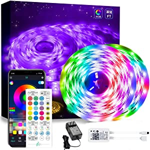 Led Strip Lights Kit, 32.8ft Led Light Strip for Bedroom, Dorm, Room Decor, Bluetooth App Control Music Sync LED Tape Lights with Remote,5050 RGB Rope Light Strips (32.8Ft APP+ Remote+ Mic Control)