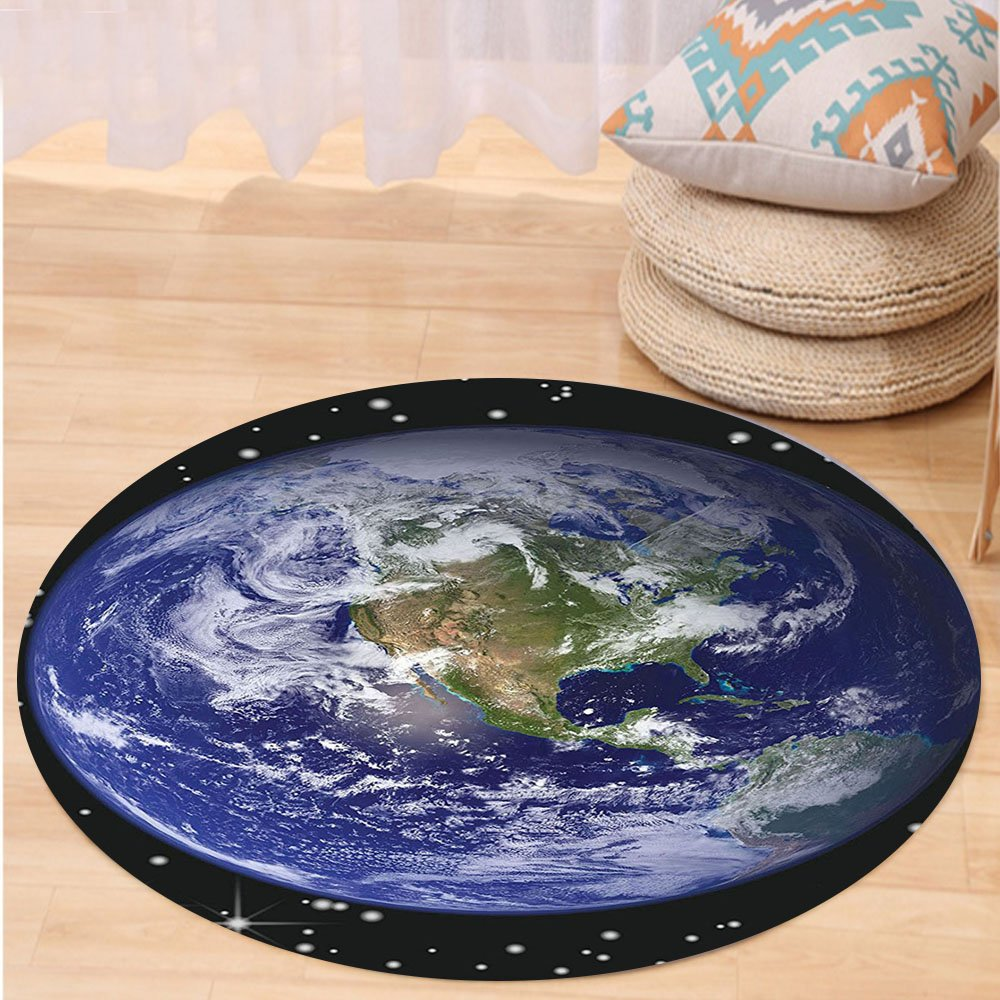 VROSELV Custom carpetGalaxy and Space for Classroom Decorations Collection North America Stars and the Moon from an Astronaut Eye Bedroom Living Room Dorm Round 79 inches