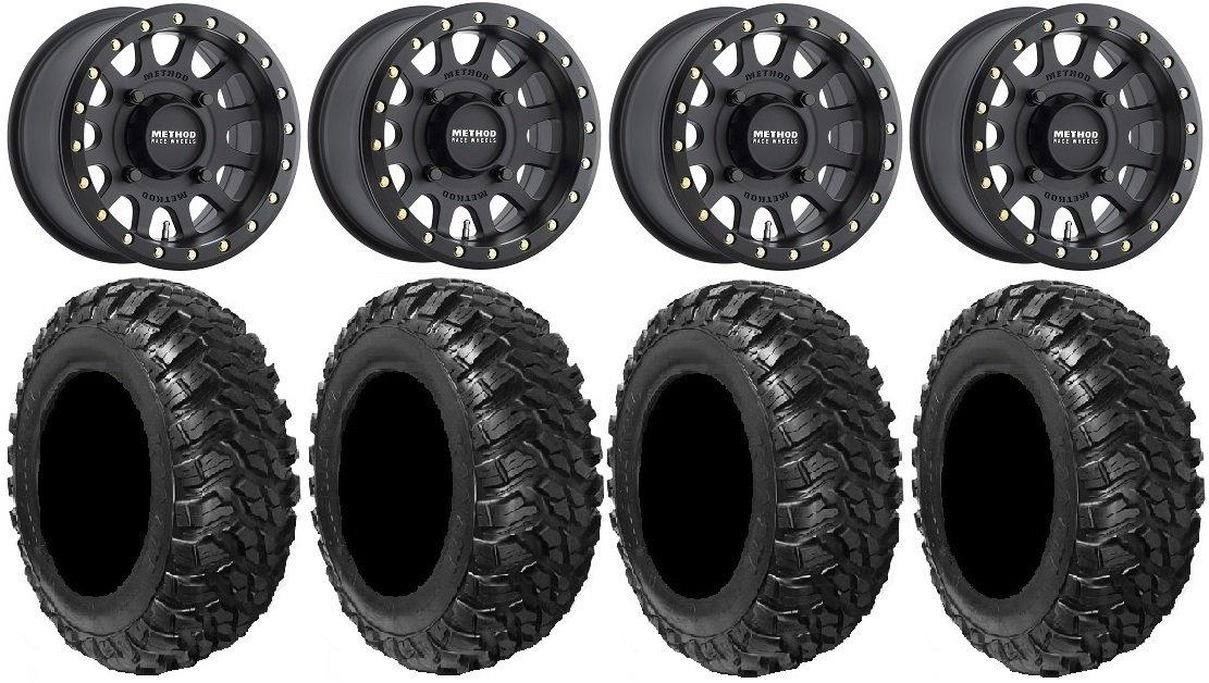 Bundle - 9 Items: Method 401 15'' Beadlock Black (4+3) Wheels 28'' Kanati Mongrel Tires [4x156 Bolt Pattern 12mmx1.5 Lug Kit]