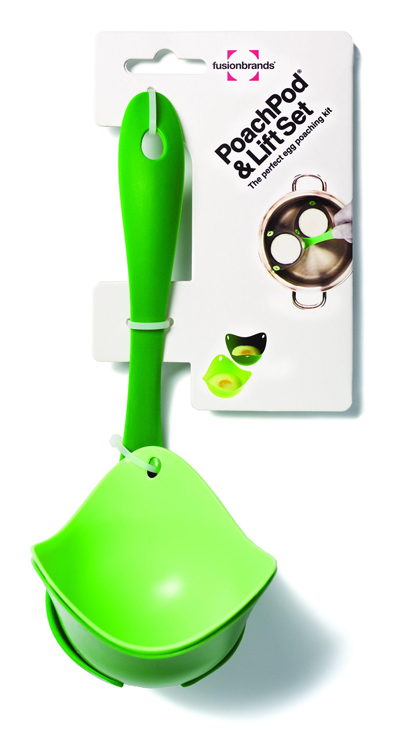 Fusionbrands PoachPod Poaching Set Includes 2 Pods for Poaching Eggs and 1 Lifting Tool,  Green