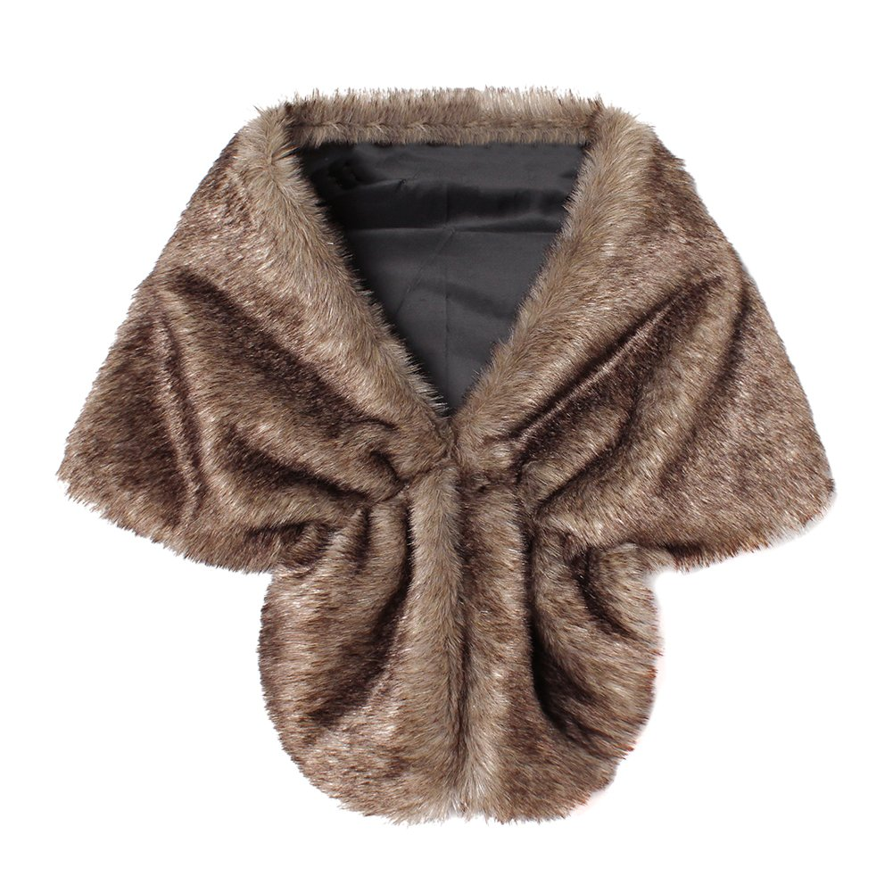 Women Faux Fur Wrap Stoles Wrap Winter Warm Burgundy Shawl Shrug Cape iBaste BE0006902P94%SL