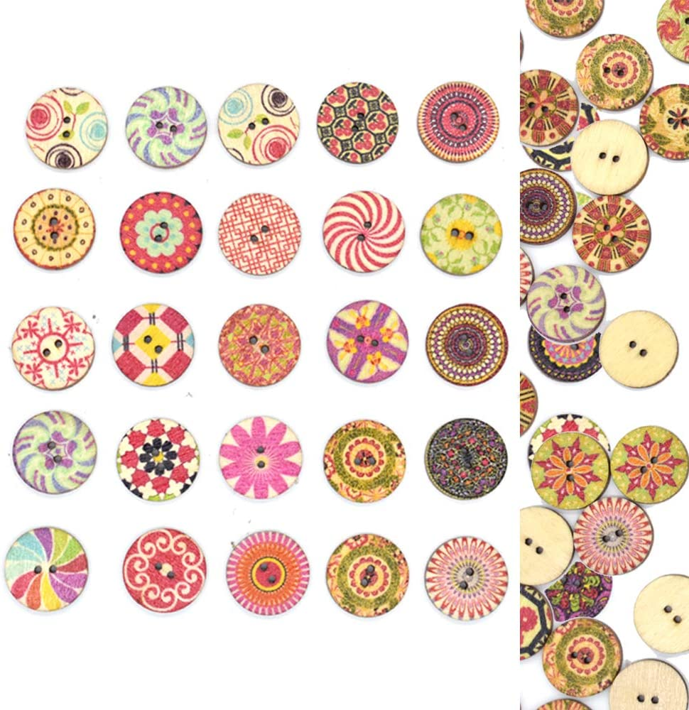 5 10 20 Large 25mm Wooden Buttons choice of colour sewing knitting scrapbooking