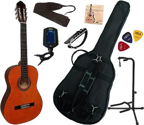 MSA: pack de guitarra clásica 4/4 (adulto), con 7 accesorios (color natural): Amazon.es: Instrumentos musicales
