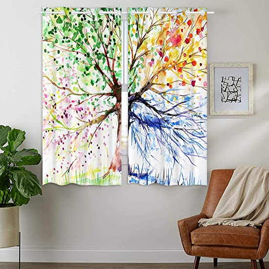 Best window curtain panel: HommomH 42 x 63 inch Curtains 2 Panel Grommet Top Darkening Blackout Room Colorful Art Tree Life