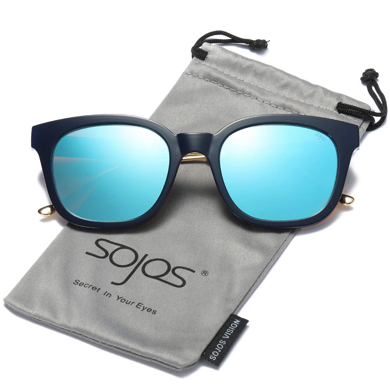 SOJOS Wayfarer Vintage Occhiali da Sole Quadrati Polarizzate Specchiati Uomo e Donna Unisex SJ2050 SJ2050C1
