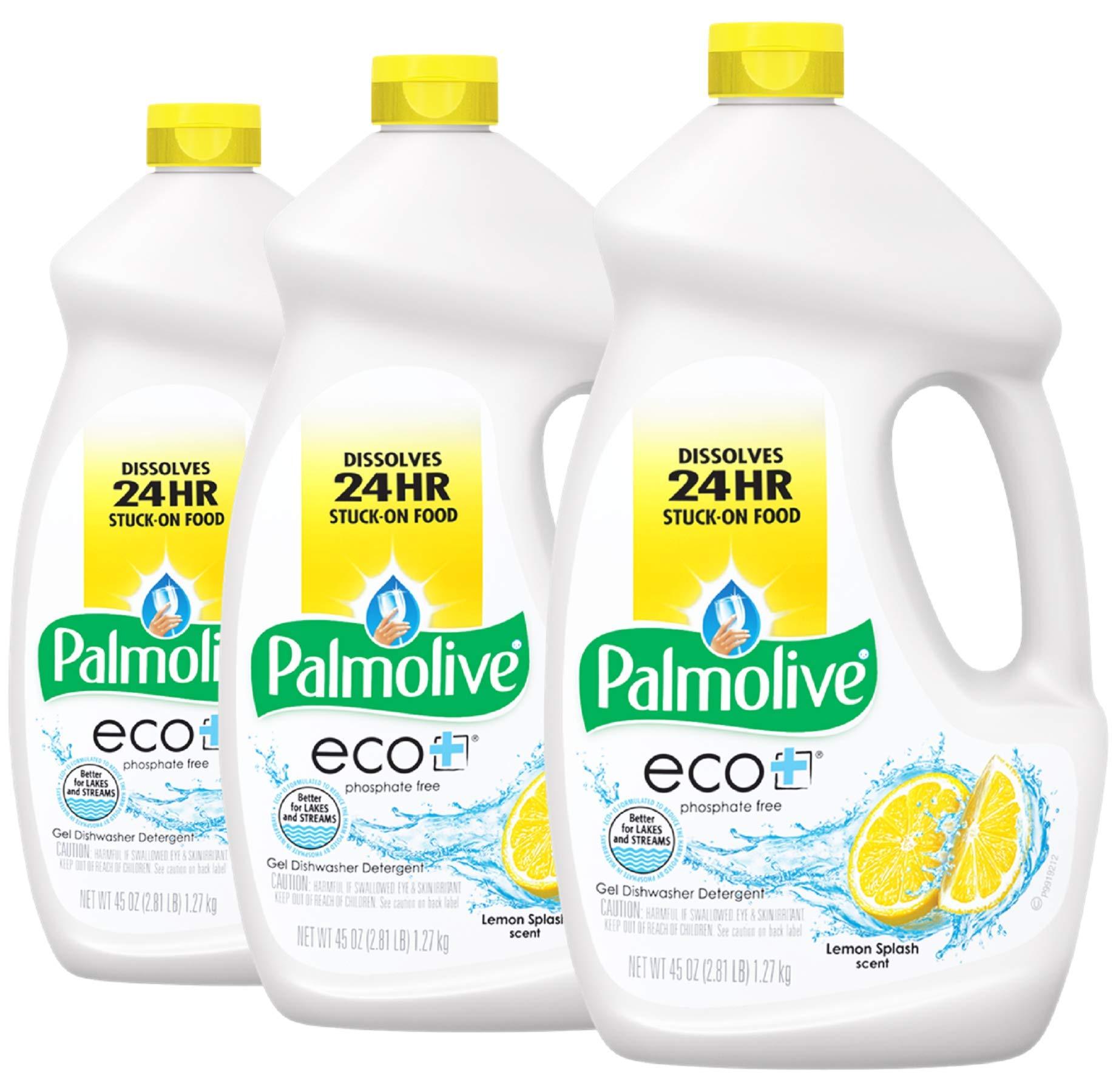 Palmolive Eco Gel Dishwasher Detergent, Lemon Splash - 45 Ounce (3 Pack)