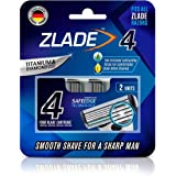 Zlade 4 Blade Shaving Cartridges with Safe Edge Technology, Fit All Zlade Razors, Made in Germany - Pack of 2