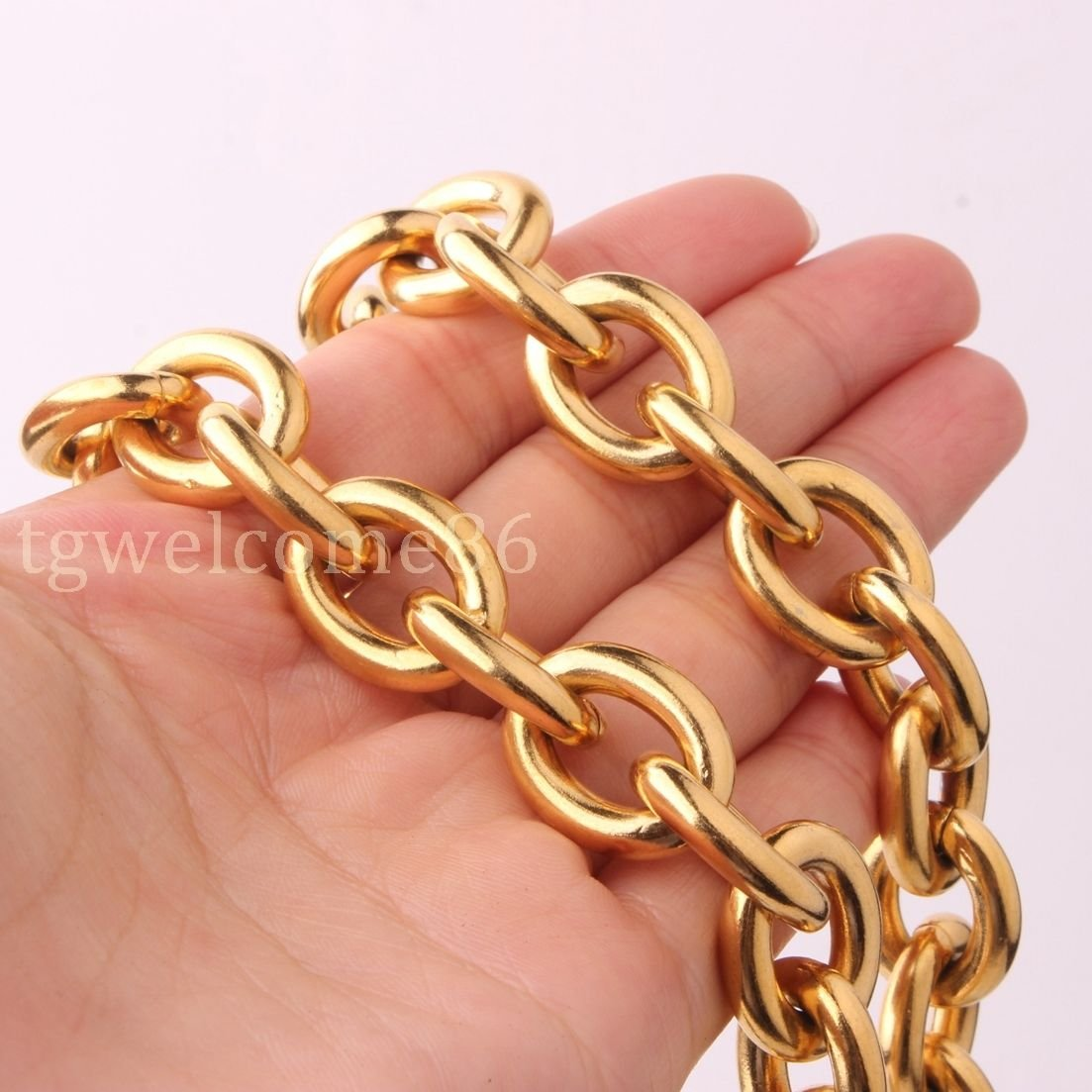 FidgetKute Charm Mens Stainless Steel Strong Rolo Oval Chain Necklace or Bracelet 8-40 Gold 11mm 22inch for Necklace