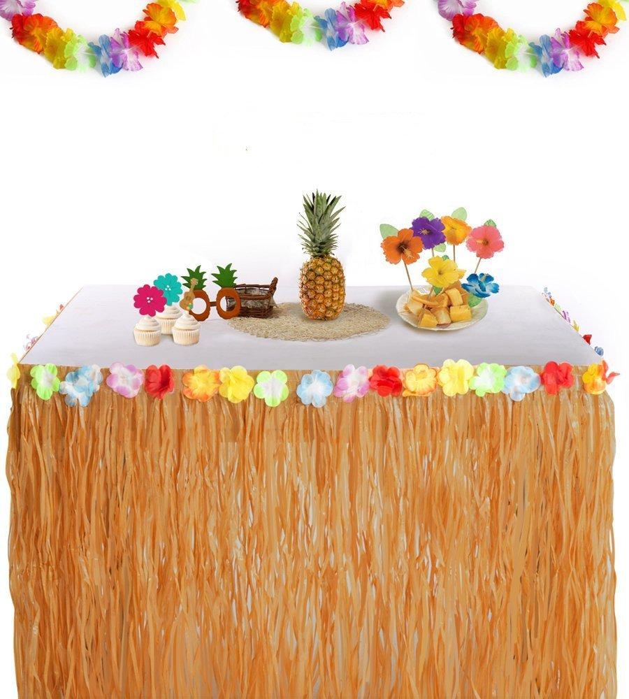Aligaa Falda de Mesa Luau hawaiana Perfecto, Playa, Tiki, Isla Tropical, Fiesta, Luau, Decoraciones Hawaianas