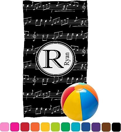 Toalla de playa de notas musicales (personalizado)