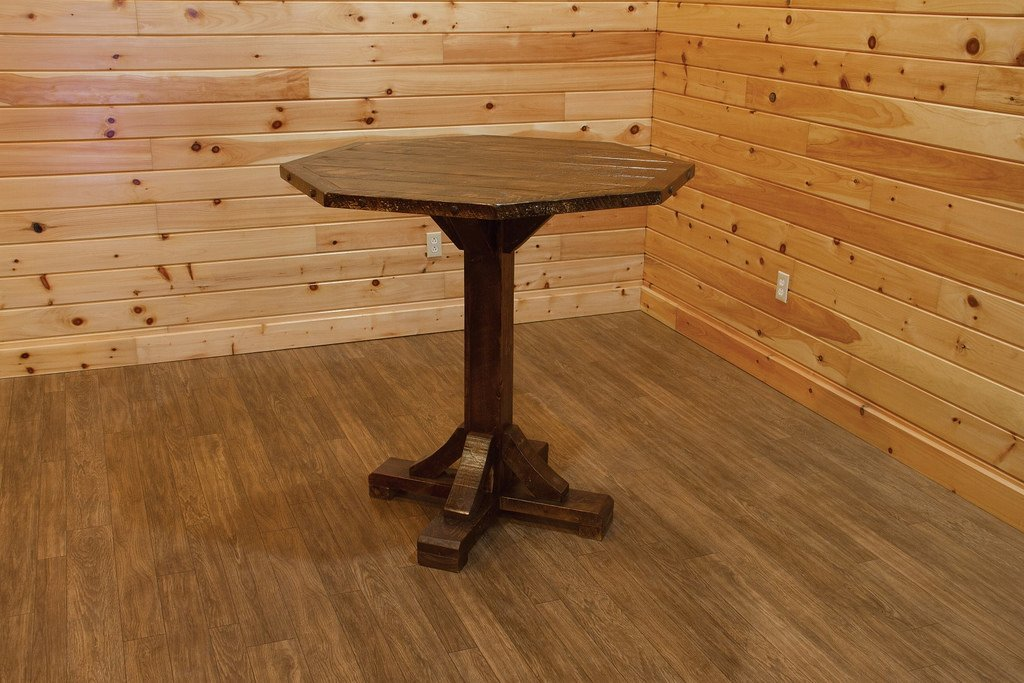 Barn Wood Style Timber Peg Bistro Table -Bar Height- Amish Made USA