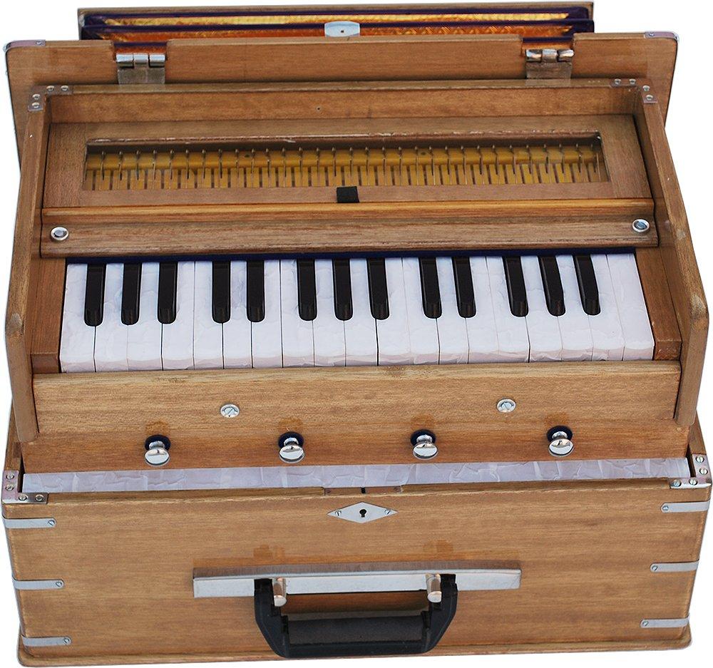 Safri Harmonium- 2¾ Octave By Kaayna Musicals-Portable, Traveler, Baja, 4 Stops (2 Drone), Two Set Reed- Bass/Male, Teak Color, Gig Bag, Tuning: 440 Hz, Suitable for Yoga, Bhajan, Kirtan, Mantra, etc by Kaayna Musicals (Image #4)
