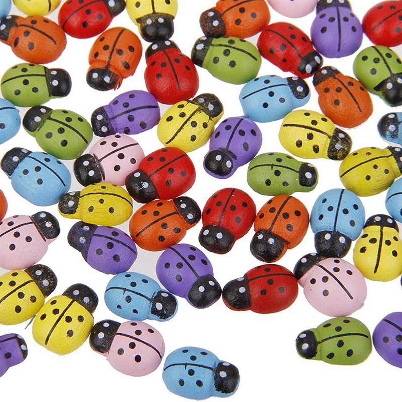 100 Pcs Mini Ladybugs Beetle Wood Sponge Sticker Home Garden Decorations
