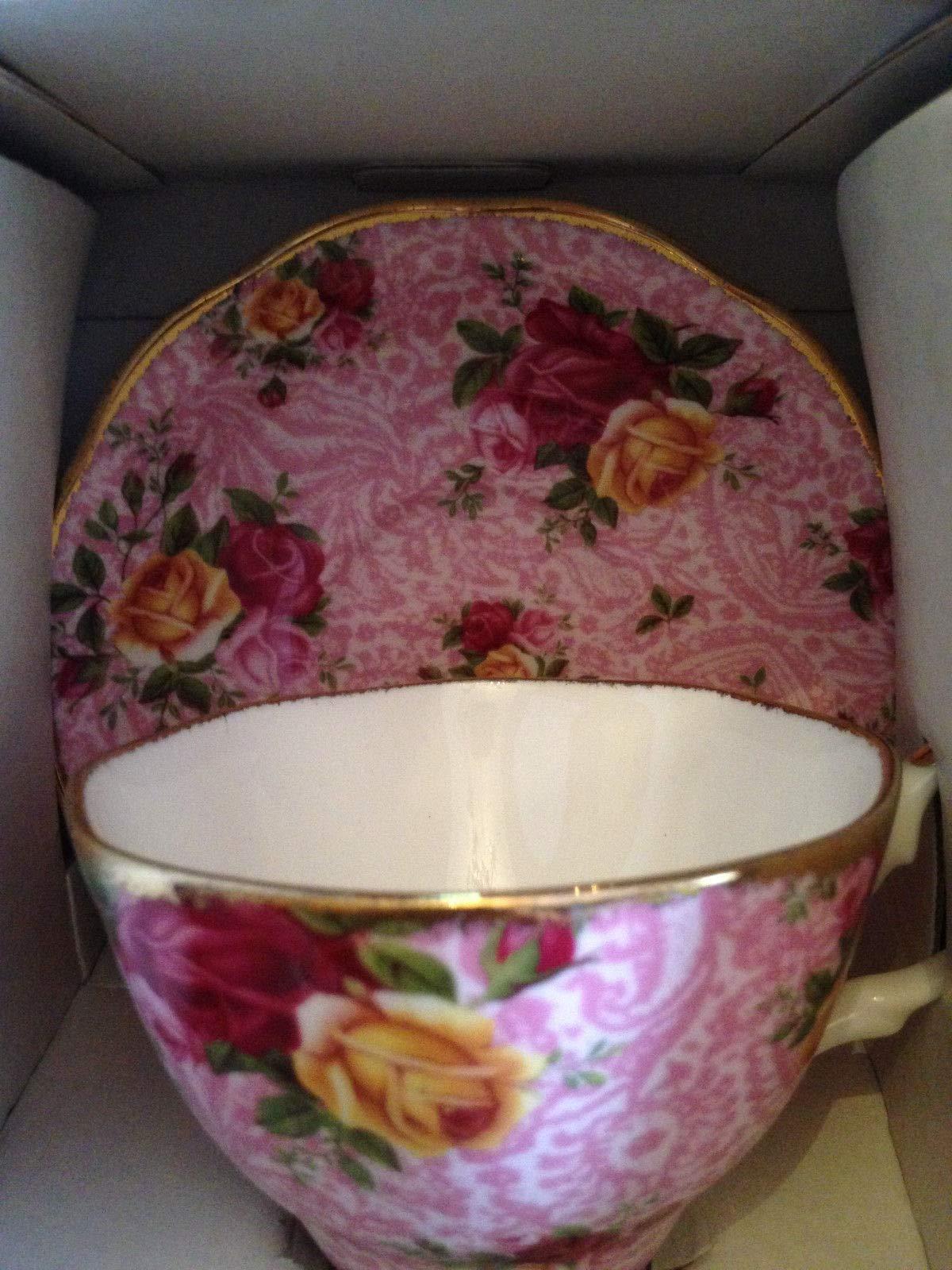 Tuweep Royal Albert English Bone China Cup Saucer Dusky Pink Lace New in Box!