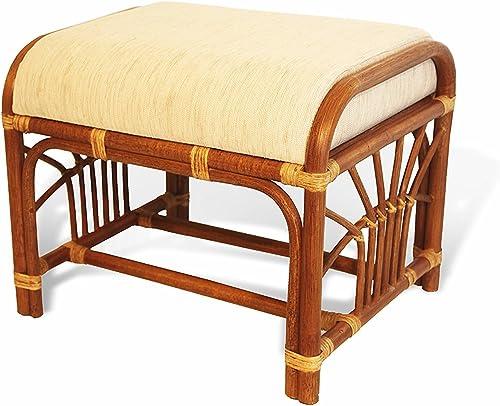 SunBear Furniture Handmade Ottoman Footstool ECO Natural Rattan Wicker with Cream Cushion, Cognac