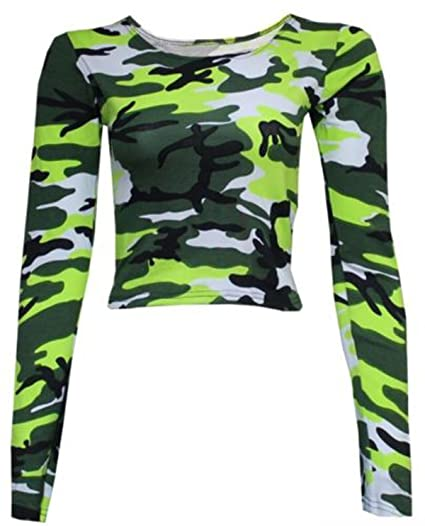 4cd5d597deab1 GirlsWalk Women's Long Sleeves Army Camouflage Printed Short Crop Top at Amazon  Women's Clothing store: