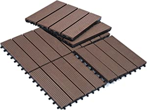 "Sunnygalde 12""x12"" Wood Plastic Interlocking Flooring Tiles 4-Slats Straight Pattern Interlocking Deck Tiles for Patio,Balcony, Porch, Backyard(6 PCS)"