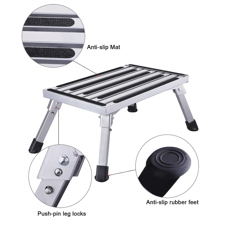 HDM 47/x 30/x 23/cm Aluminio Escalera de 1/nivel Plataforma de trabajo carga m/áxima 150/kg para cocina, ba/ño, camping y m/ás, plegable Taburete Escalera con alfombrilla antideslizante