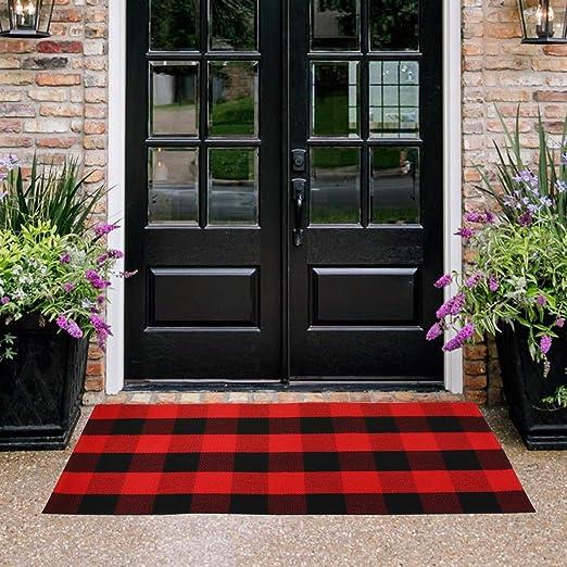 Homcomoda Cotton Doormats Plaid Checkered Door Mats Red and Black Kitchen  Rugs Hand Made Floor Carpet Runner Rugs Laundry Mat (23.6\