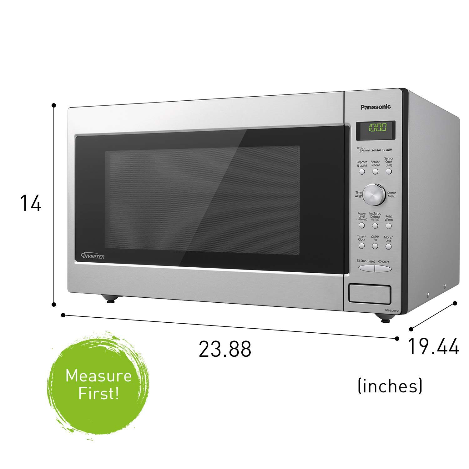 Amazon.com: Panasonic Microwave Oven NN-SD945S Stainless Steel Countertop/Built-In with Inverter Technology and Genius Sensor, 2.2 Cu.