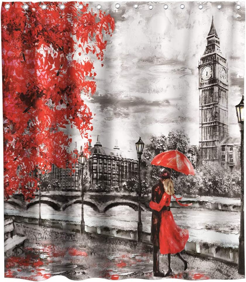 European City Landscape England Big Ben Modern Couple Oil Painting London Shower Curtain Cloth Fabric Bathroom Decor Sets with Hooks Waterproof Washable 72 x 72 inches