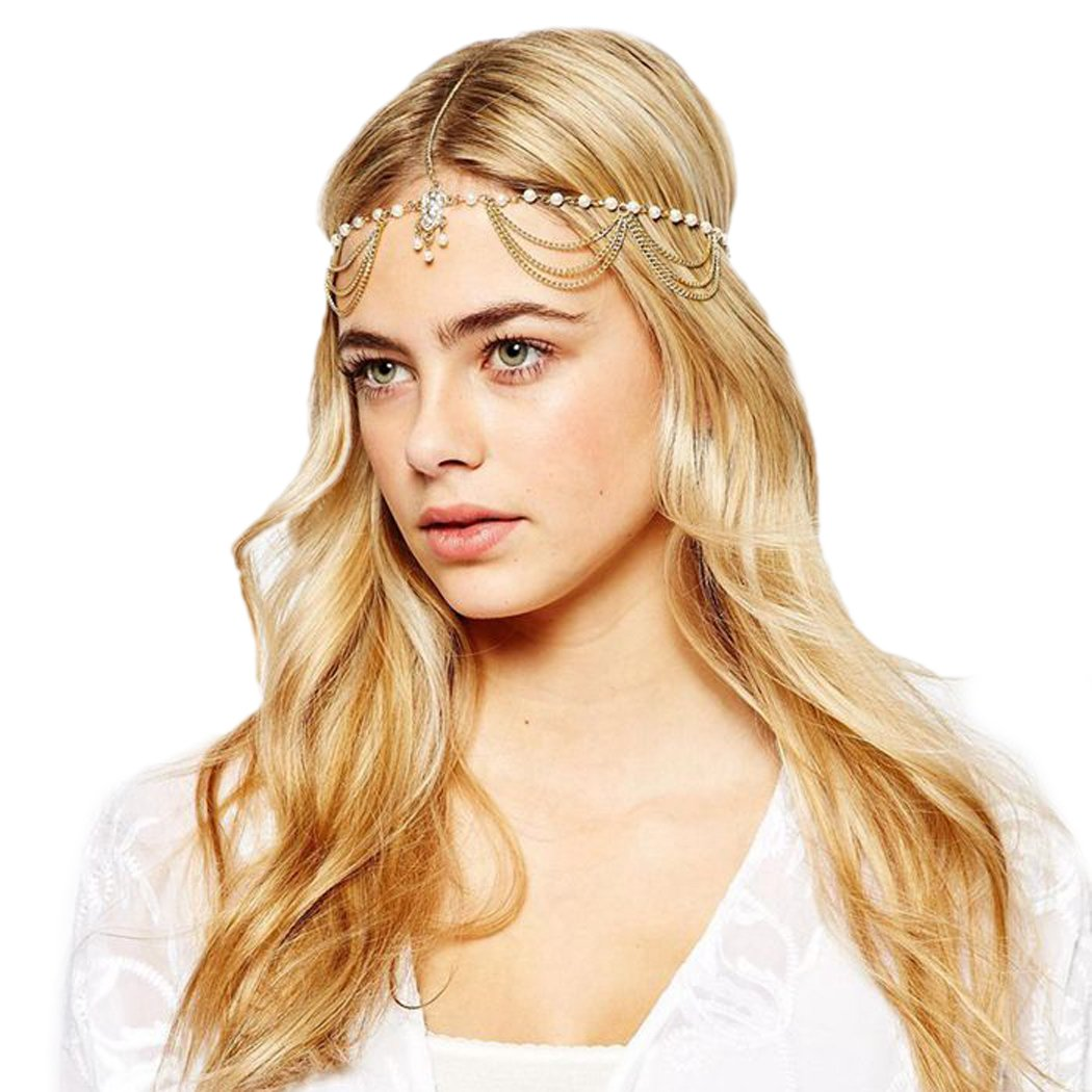 Jovono Women's Bohemia Headband Head Chain with Rhinestone and Beaded Tassel