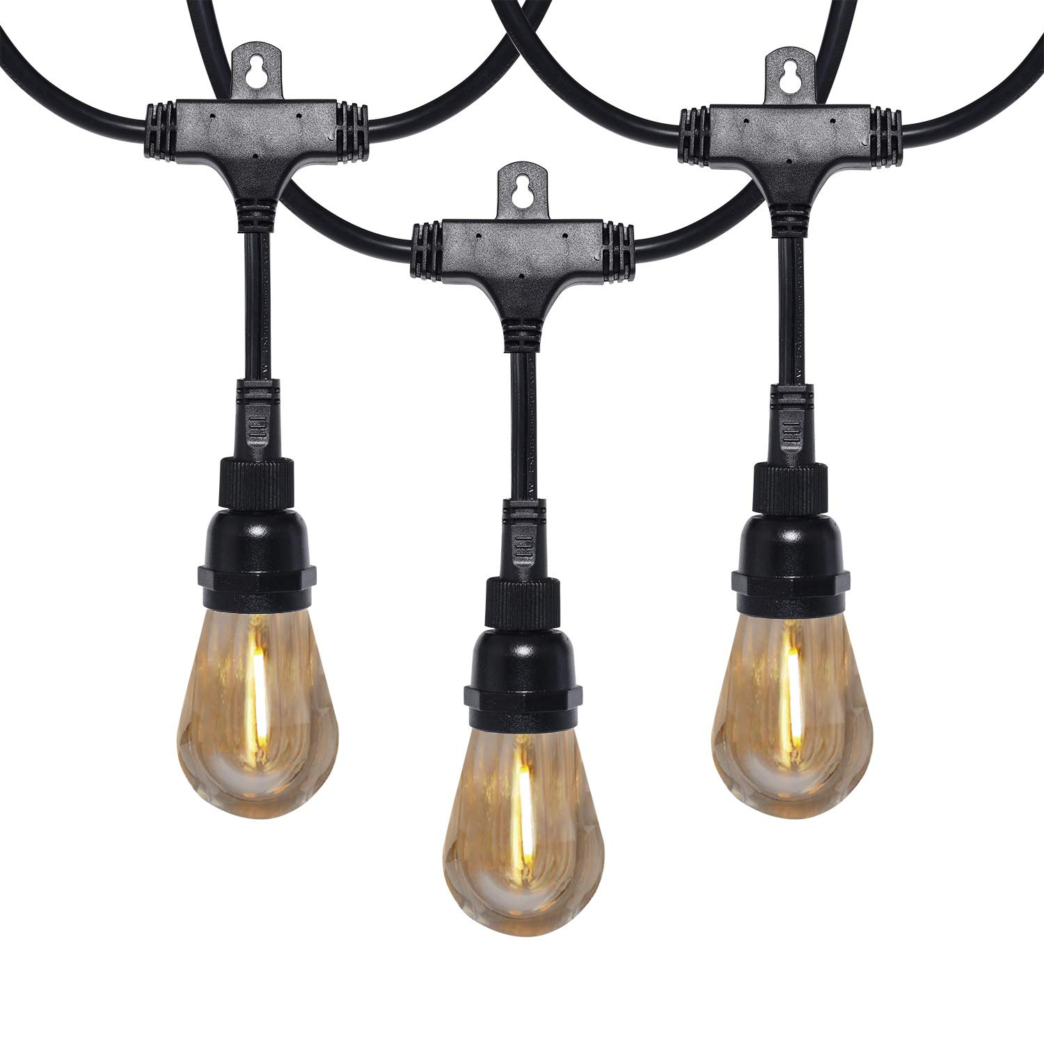Honeywell Waterproof LED Outdoor String Lights, 48 Ft Commercial Grade Patio Lights, Create Cafe Lighting Ambience in Your Backyard